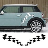 Para dla Mini Cooper Clubman R55 R56 R57 R58 F54 R60 F56 F55 R61 Drzwi Auta Naklejka Racing Checker Flag Side Stripes Graficzne Naklejka