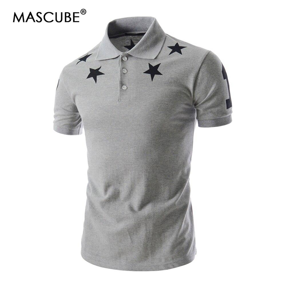 MASCUBE 2019 Summer Mens Fashion Slim Fit Stylish Casual Short Sleeve   Polo   Shirt Mens Star Print   Polo   Shirt blusas