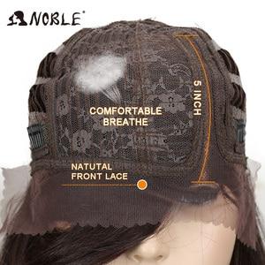 Image 5 - Noble 合成かつら黒人女性のための流行のレースフロントかつら人工毛 20 インチ人工毛レースフロントかつら