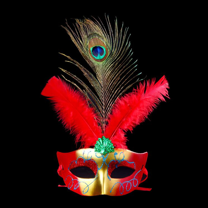 Colorful Painting Peacock Feather Mask Women Girls Ball Mask