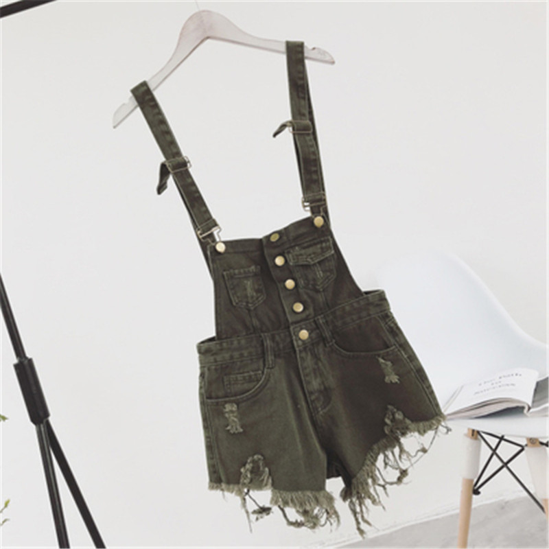 The new college wind denim strap shorts female summer hole loose Korean students was thin sling tide (5)