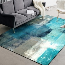 Fashion modern Abstract art Door mat watercolor Blue yellow gray white bedroom rug Living room velvet customize carpet