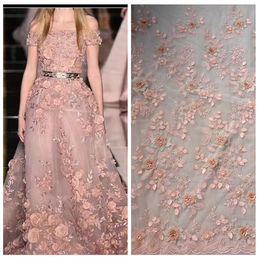 La Belleza 1 yard Peach / off white / beige / rosa 3D fiori da sposa sfilata spettacolo tessuto di pizzo 51 '' larghezza