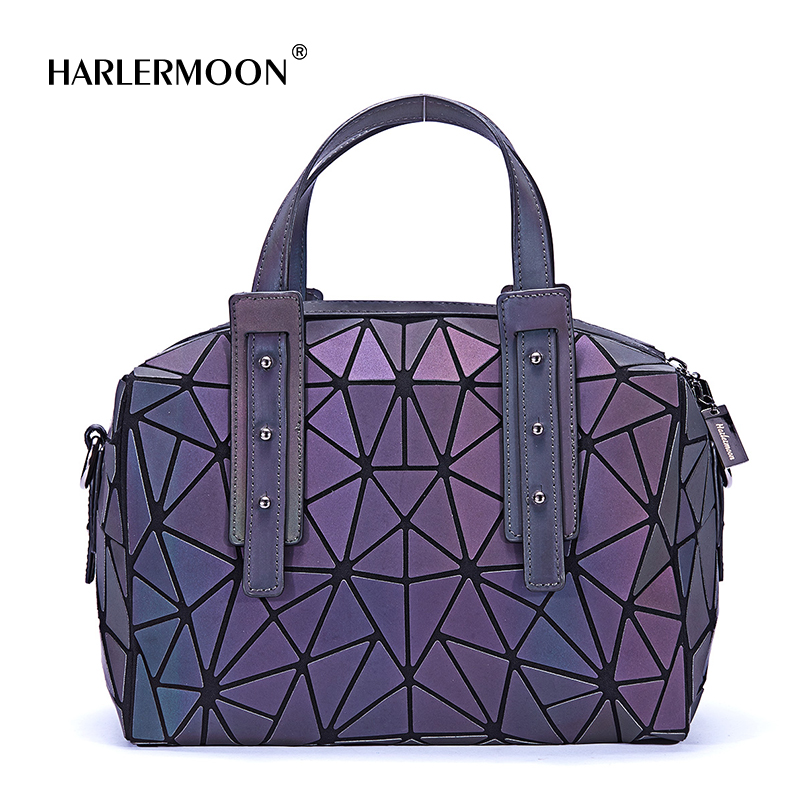 Harlermoon New Arrival Luminous Geometric Plaid Bag Fashion Casual Tote Pillow Shoulder Bag Handbag Crossbody Bag for Women dvodvo women handbag baobao bag female folded geometric plaid bag bao bao fashion casual tote women handbag mochila shoulder bag