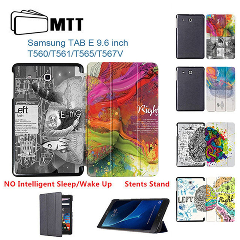 MTT Printing Left Right Brain Skin PU Business Stand Book Cover Case 9.6 Inch For Samsung Galaxy Tab E SM-T560 T560 T561 Tablet