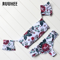 RUUHEE Bikini 2017 Floral Printed Swimwear Women New Arrival Swimsuit Bikini Set With Pad Low Waist