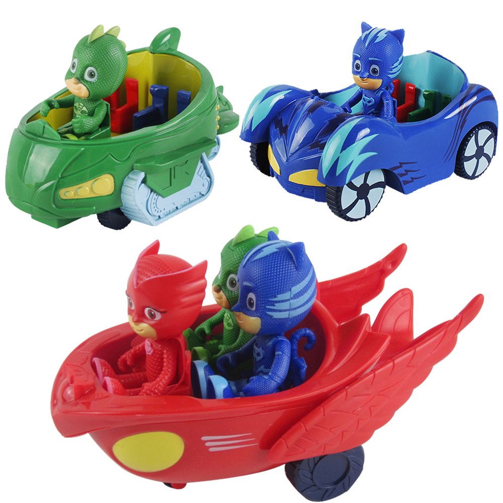 1PCS 3.5inch Doll With 3 Seats Car Pj Characters Catboy Gekko Cloak Action Figure freddy Toys Boy Gift Pj Mask Cartoon Model