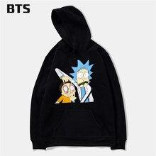 BTS Rick And Morty Hoodies Men Punk Hipster Sweatshirt Boys Hipster Brand Comfortable Sweatshirt Men Fashion Hoodies Mens Casual
