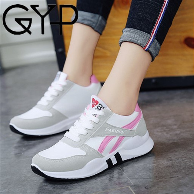 GYP 2018 women running shoes White sport sneakers wedge Wild Platform Heels Female Leisure Sneakers lady plus size 35-40 YC-337