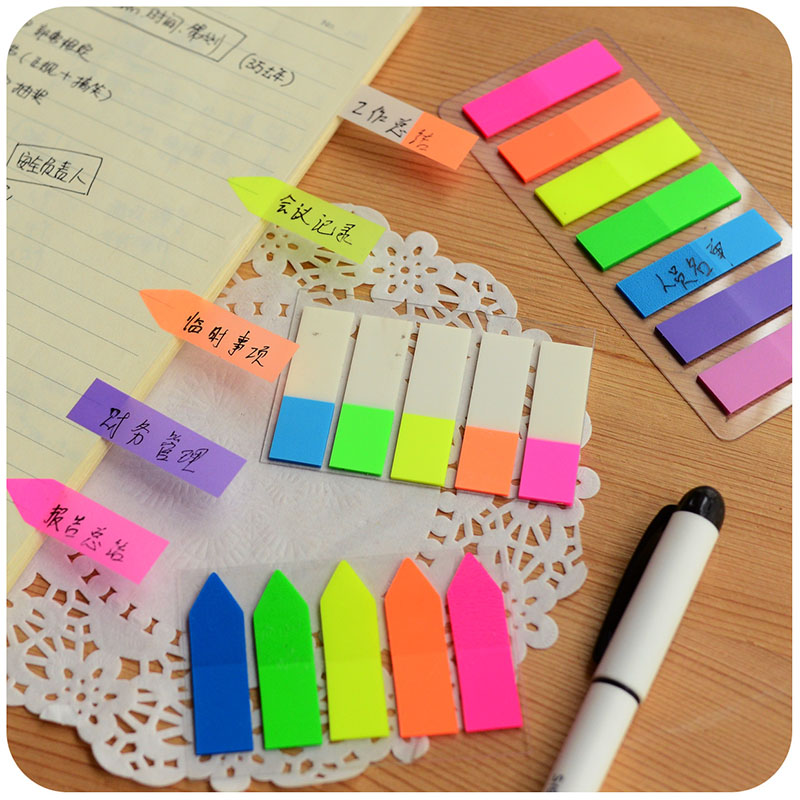 Cute Kawaii PET Rainbow Color Memo Pad Notepad Stationery Sticker Fluorescent Film Sticky Notes Office School Supplies 2018 pet transparent sticky notes and memo pad self adhesiv memo pad colored post sticker papelaria office school supplies