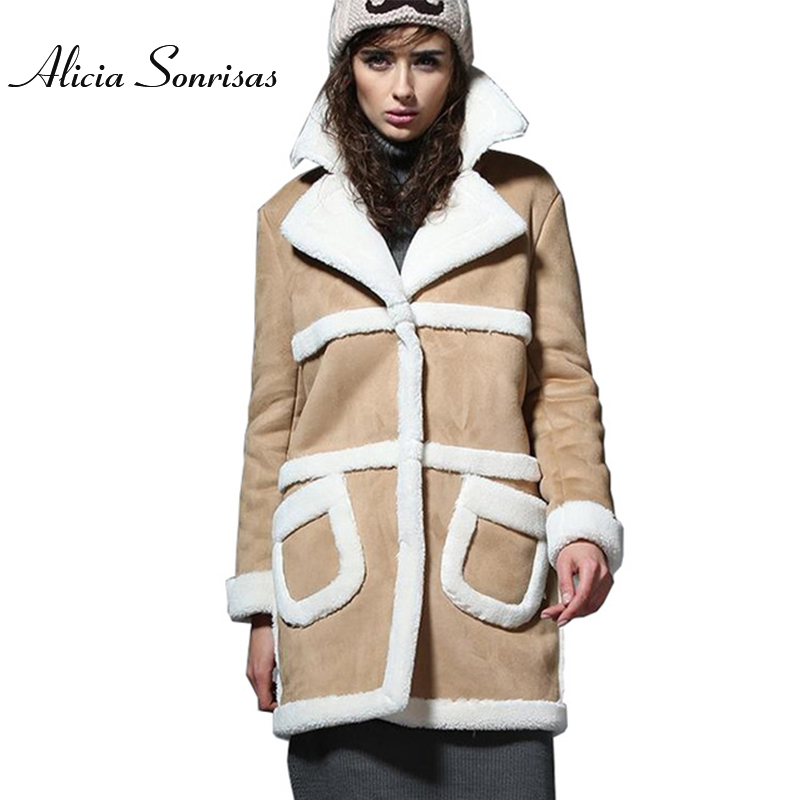 2018 Long Shearling Sheepskin Suede Cloak Winter Jacket Women Lapel Thick Warm Women s Coats Overcoat