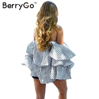 BerryGo Striped Ruffle Feminine Blouse Shirt Women Off Shoulder Sexy Summer Blouse Christmas 2016 Casual Cool