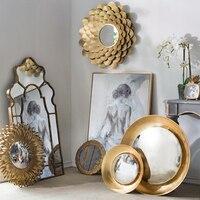 Европейский кованого железа Золотой цветок зеркало настенный гостиная крыльцо орнамент кулон декоративное зеркало