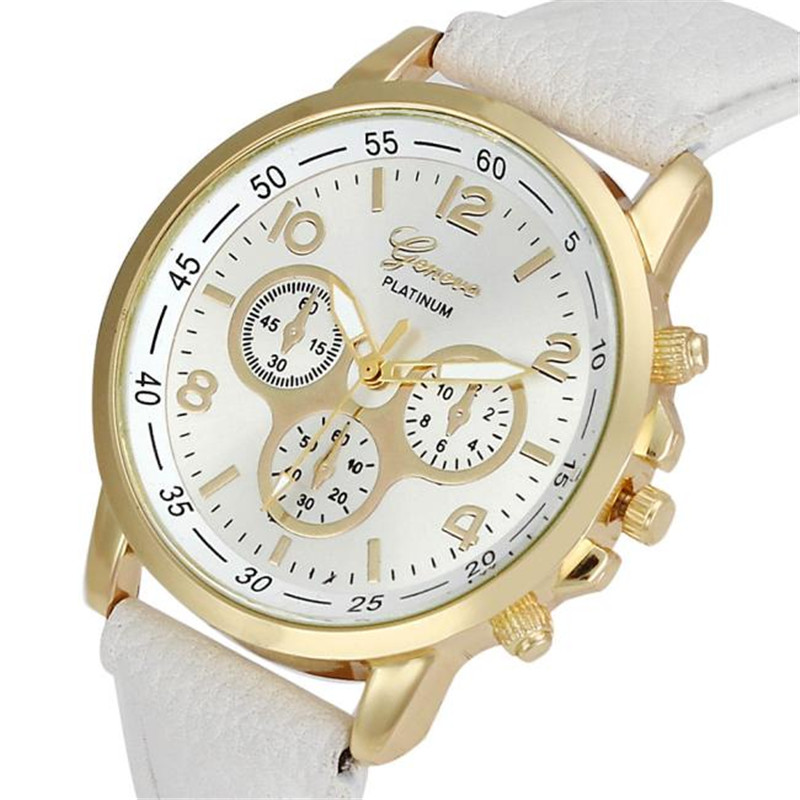 Hot New Relojes Geneva Fashion Leather Watch Analog Quartz Women Men dress women watches brand luxury wrist watch, 9 Colors wavors luxury watches women men leather band rome number auto time analog wrist quartz dress watch