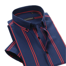 Brand British Style Double Striped Shirt Men Short Sleeve Casual Cotton Fashion Formal Business Party Male Summer Shirt 4XL