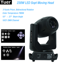 2019 New LED 230W Spot Moving Head Light 3 Facets Prism and Bidirectional Rotation DMX512 Vocal concert Stage DJ Effect Lights