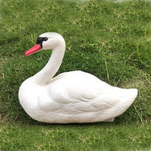 1pc Hunting White Bait Garden Plastic Pond Goose Decor White Swan Pet for Garden Home Decoration Garden Statues & Sculptures(China)