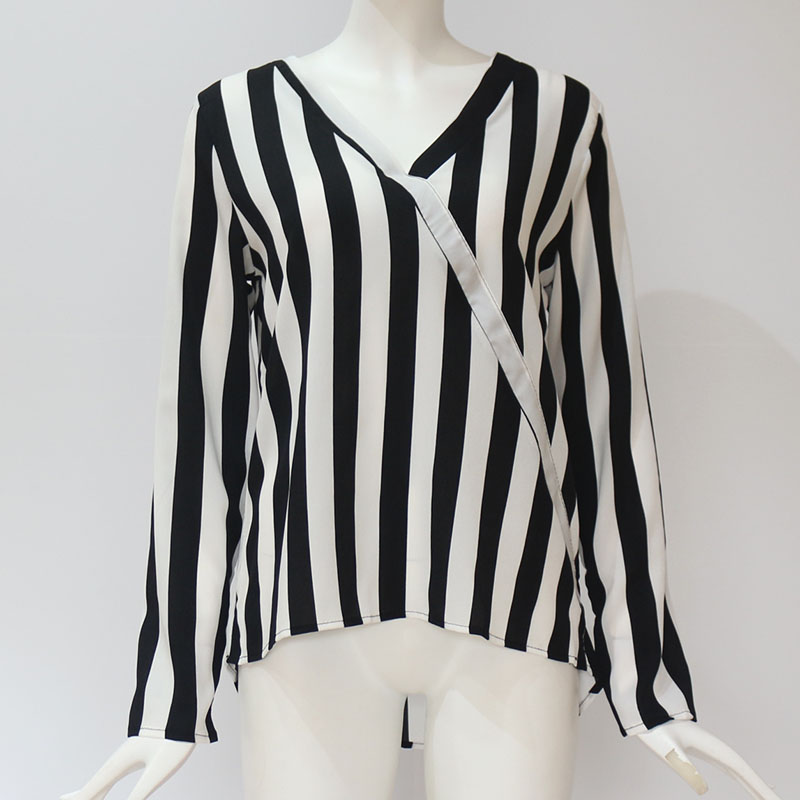 Women Striped Blouse Shirt Long Sleeve Blouse V-neck Shirts Casual Tops Blouse 58