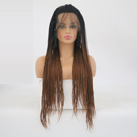 Rongduoyi Long Micro Braids Black Brown Dark Roots Ombre Blonde Synthetic Braided Lace Front Wig With Baby Hair For Black Women