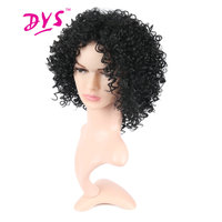 Deyngs Short Afro Kinky Curly Synthetic Wigs For Black Women Black Blonde Color Natural Hair African