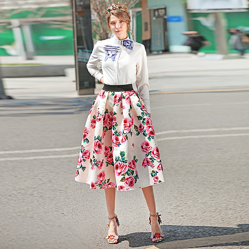 Milan Runway New High Quality 2018 Spring Summer WomenS Fashion To Boho Beach Vintage Elegant Rose Flower Print Ubble Skirt