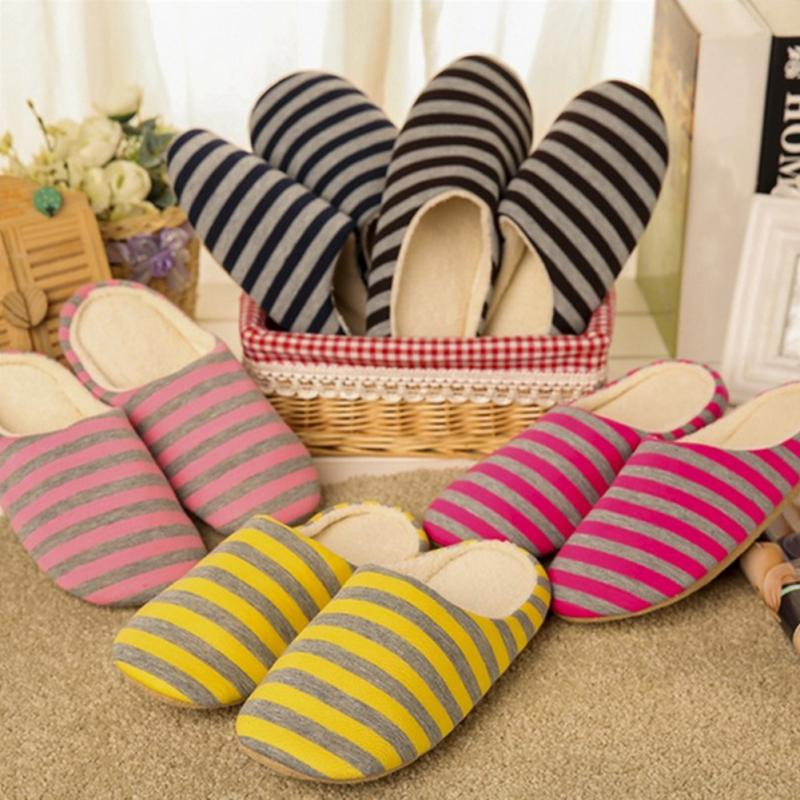 2019 New Slippers Indoor Pantufas Winter Cotton Striped Slipper Home Couple Shoes Soft Floor Household Plush Chinelos