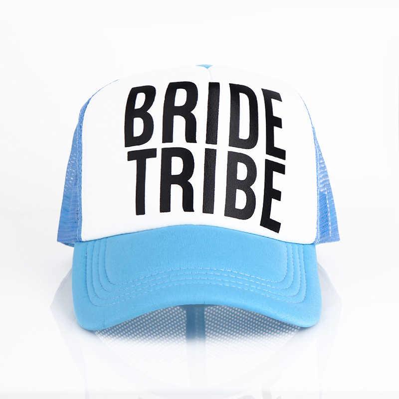 ... Bride Bride Tribe Bachelorette Hats Women Wedding Preparewear Trucker  Caps White Neon Summer women Mesh ... 6ffb3224ff45