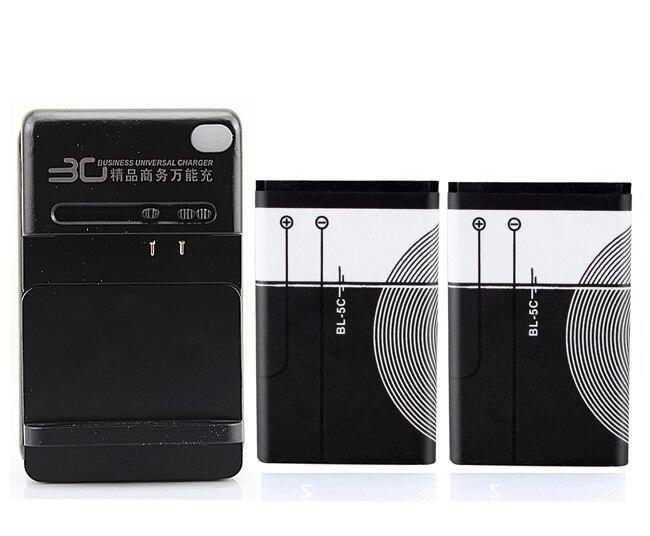 2pcs 1020mAh BL-5C Li-ion Battery+USB Charger For Nokia 1100 1110 1108 1101 1112 1208 1200 E60 N70 N91 6600 6680 BL 5C Batteries