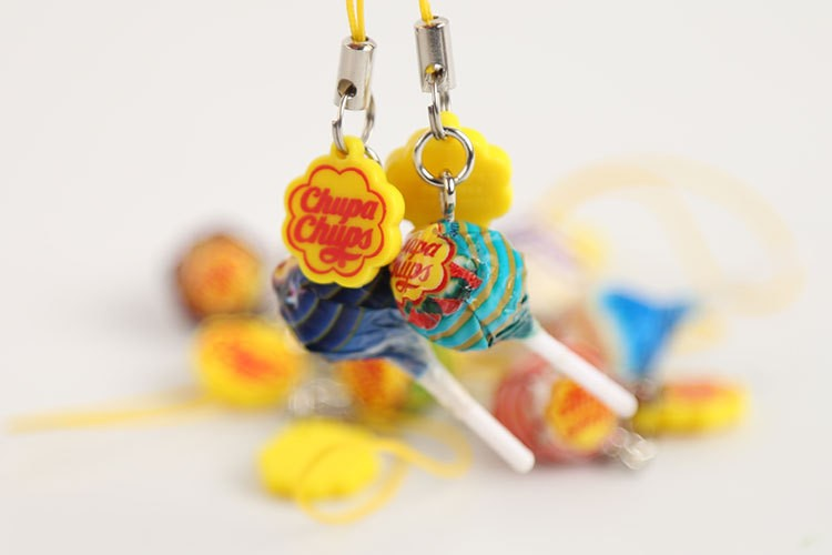 1 pcs Mini CHUPA CHUPS Lollipops Permen Gantungan kunci.4cm. Lollies Massal massal Mainan.
