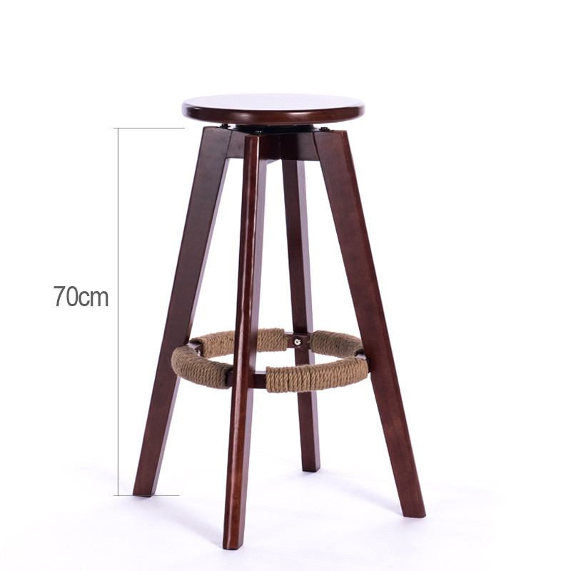 Us 79 0 Wooden Bar Stools Swivel Round Seat Mahogany Natural Finish Indoor Mini Home Kitchen Furniture Cafe Stool Rotating Chair In Step
