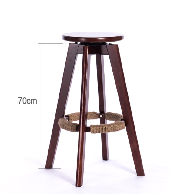 Wooden Bar Stools Swivel Seat Round Mahogany Natural Finish Backless Indoor Mini Home Furniture