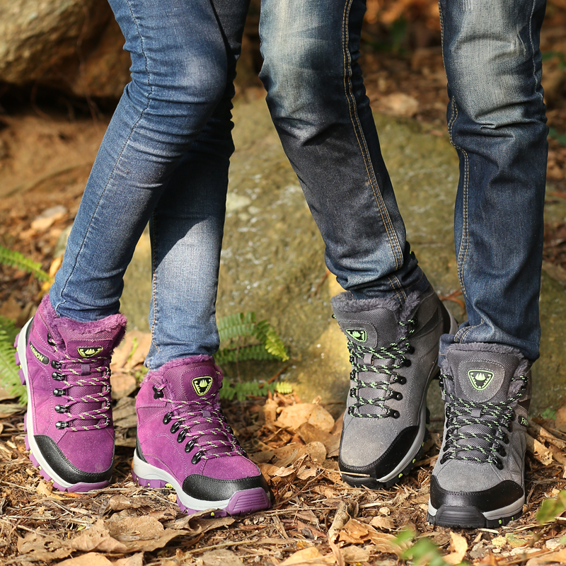 Couples Hiking Boots Dark Gray Rose Red Men Women Winter Mountain Shoes Comfortable Travel shoes Women