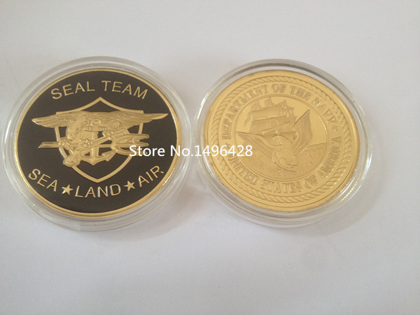United States Navy Seal Team 24 K GP Challenge Coin.5pcs/lot Free Shipping