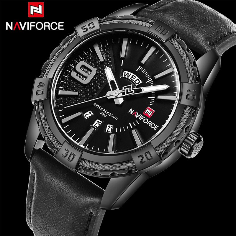 NAVIFORCE Men Quartz Watches Luxury Brand Men's Fashion Casual Leather Sports Wrist Watch Male Military Clock Relogio Masculino luxury brand men s quartz date week display casual watch men army military sports watches male leather clock relogio masculino
