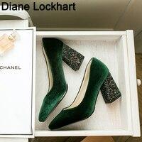 Women Pumps Velvet High Heels Ladies Shoes Elegant Pointed Toe Wedding Female Shallow Shoes Green Autumn Fashion Size 32 41 42