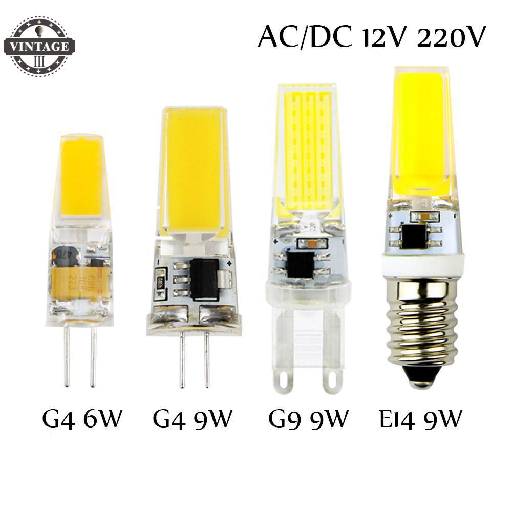 VintageIII  G4 AC DC 12V COB Lights Replace Halogen Bombillas LED Bulb G9 G4 E14 220V 3W 6W 9W Dimmable Lampada LED Lamp