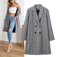 цены Women's Long Style Double-Breasted Turn-down Collar Plaid Casual Suit