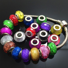 14MM Mixed Color Glitter Powder Cut&Faceted Big Hole Beads Charms Fit Jewelry Bracelet Findings 100pcs/lot
