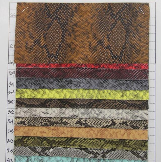 Ecológico patrón de serpiente sintético pu leahter tela de materia ...