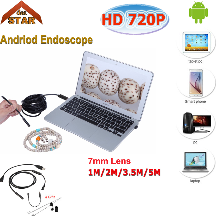 Android Endoscope USB HD 720P 8mm Lens 6 LED Waterproof Snake Tube Borescope Inspection Camera with Length USB Cable gakaki 7mm lens usb endoscope borescope android camera 2m waterproof inspection snake tube for android phone borescope camera