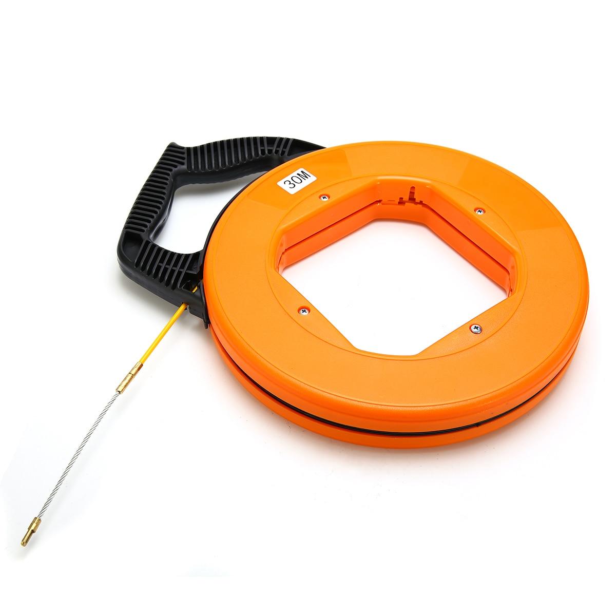 New Cable Fish Tape ABS Plastic Fish Tape Puller 30M Fiberglass Fish Tape Reel Puller Conduit