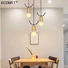 Modern minimalist creative wooden antlers retro chandelier restaurant bar desk study decoration lighting