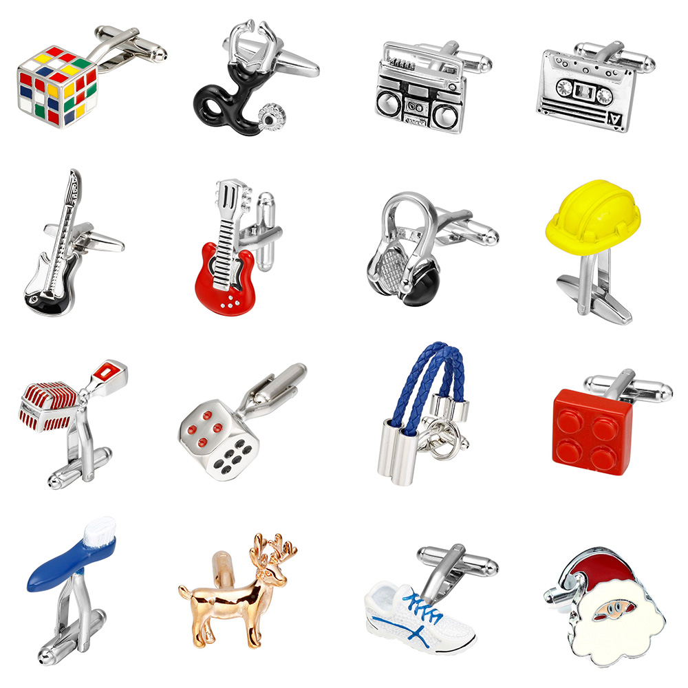 Memolissa Novelty Cufflinks 18 Styles Optional Music Equipment/Shoes/Hat/Toothbrush/Animal Design Fashion Cufflinks for Men image