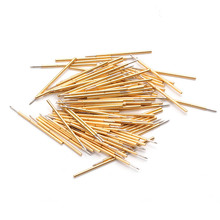 P048-J 100 Pcs/ Pack Spring Test Probe Phosphor Bronze Tube Gold-Plated Electrical Instrument Tool For Testing Circuit Board electrical probe testing lead wire hooks yellow 20 pack