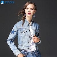 Nail bead Stars Stand collar Women's Denim Jacket Vintage Slim Hot Fashion Holes Cacual Denim Jacket 100% cotton fabric