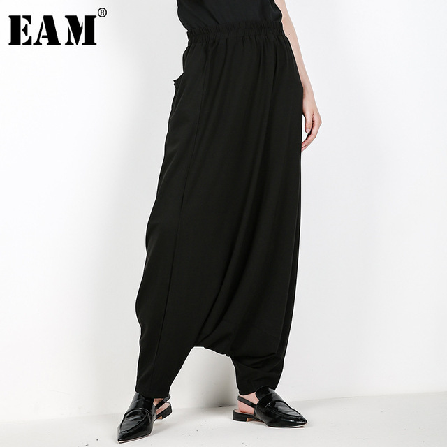 [EAM] 2020 New Spring High Elastic Waist Brief Black Pocket Leisure Loose Cross pants Women Fashion Tide All match JF596