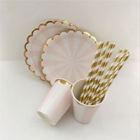 Pink& Gold Foil Striped Tableware Paper Party Plates Cups Straws Napkins for New Year Wedding Girl Birthday Decor Supplies