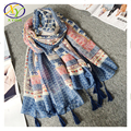 1PC 180*100CM 2016 New Design Ethnic Style Fashion Acrylic Cotton Women Tassels Scarf Thin Woman New Viscose Pashminas Shawl