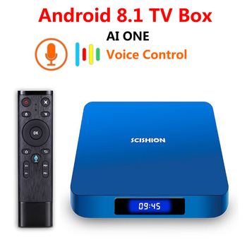 AI ONE Android 8.1 TV Box 2018 RK3328 4GB 32GB WiFi Bluetooth USB 3.0 Media Player 4K HD Smart Set Top Box with Voice Control
