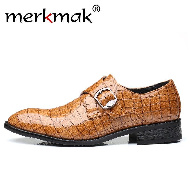 100% QualitäT Merkmak Männer Schnalle Faulenzer Pu Leder Formale Schuhe Schildkröte Shell Muster Große Größe 38 48 Einfache Slip Auf Mann Der Casual Schuhe
